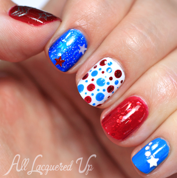 July 4th nail art and manicure