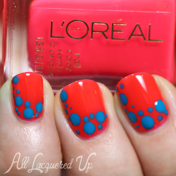L'Oreal Punchy Lychee Neons dotticure nail art via @AllLacqueredUp