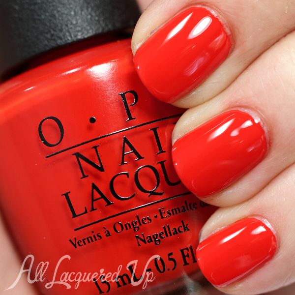 OPI Race Red swatch from OPI Ford Mustang via @AllLacqueredUp