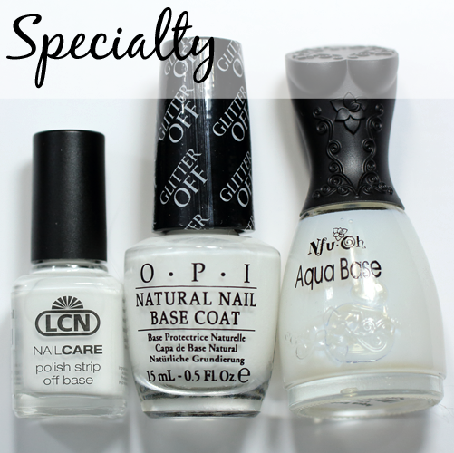Specialty Base Coats - LCN Polish Strip Off Base, OPI Glitter Off, Nfu Oh Aqua Base