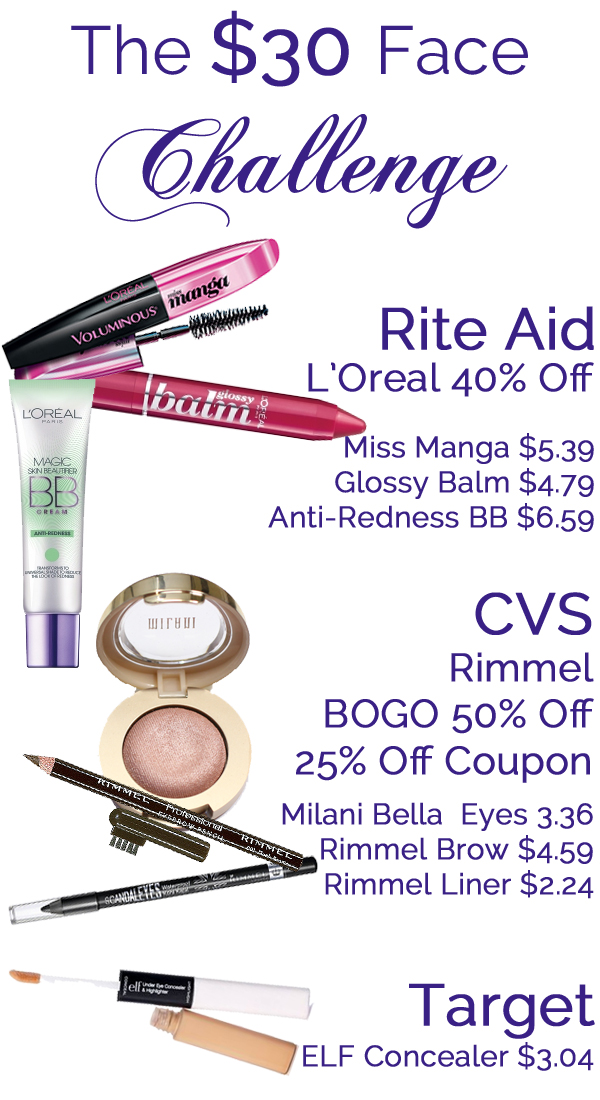 $30 Face Makeup Challenge Prices via @AllLacqueredUp
