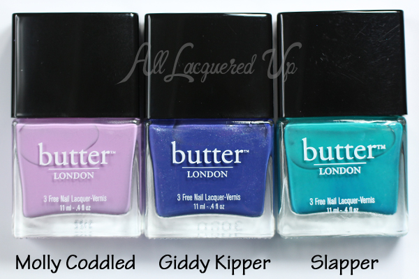 butter LONDON Molly Coddled, Giddy Kipper, Slapper via @alllacqueredup
