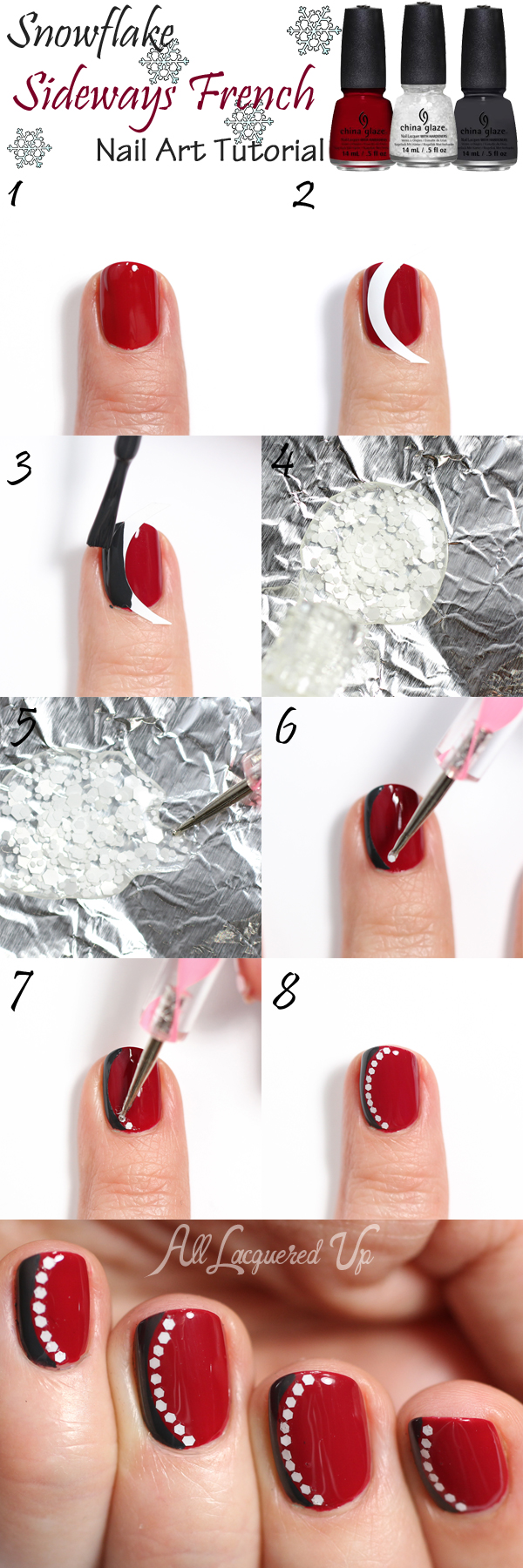 Snowflake Sideways French Manicure Nail Art Tutorial via @alllacqueredup