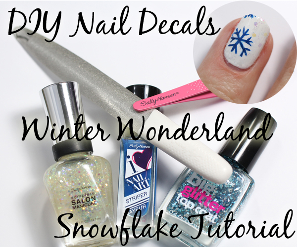 DIY Nail Decals Tutorial - Winter Snowflakes via @alllacqueredup