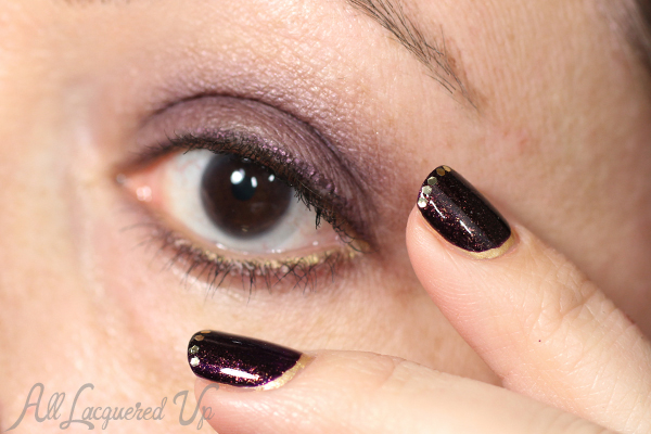 Holiday Makeup and Nails - Plum and Gold via @alllacqueredup