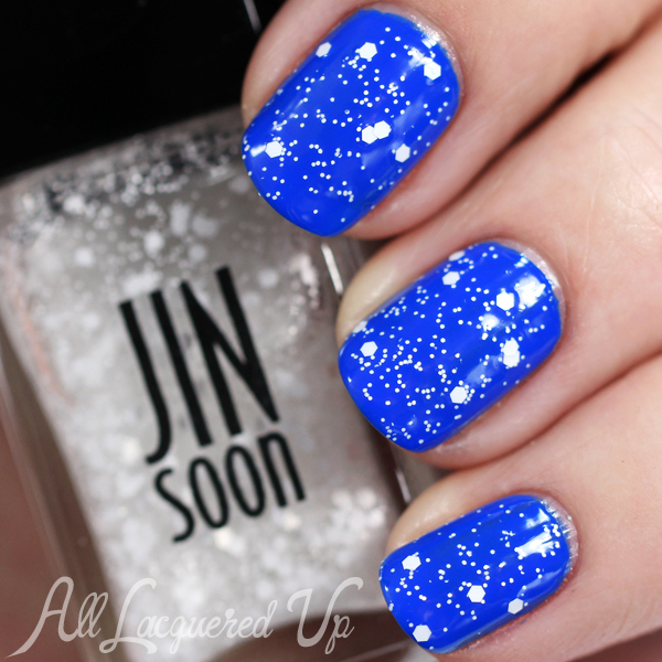 JINsoon Polka White Dot Glitter via @alllacqueredup