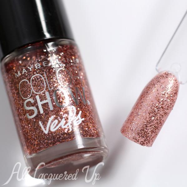 Maybelline Rose Mirage Glitter Veils via @alllacqueredup