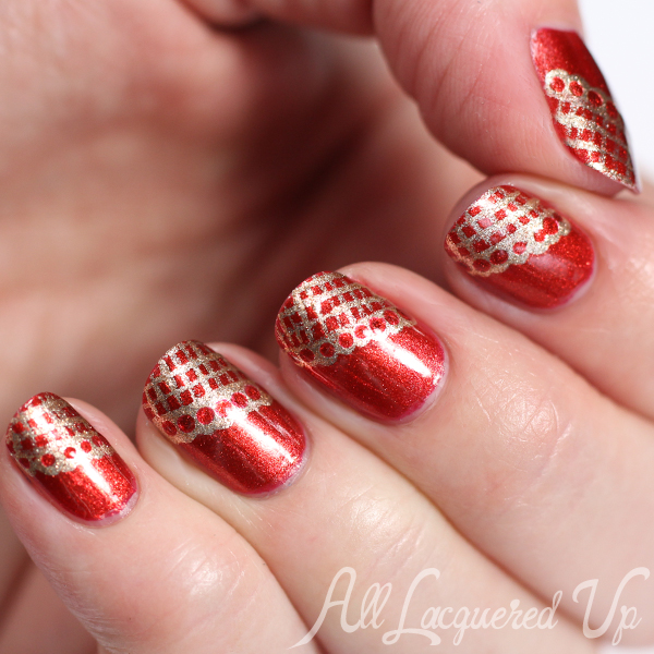 Bronze & Gold Lace Nail Art via @alllacqueredup