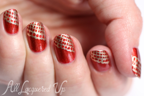 Gold Lace Nail Art via @alllacqueredup