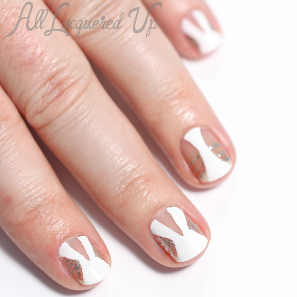 Golden Globes Negative Space Nail Art via @alllacqueredup