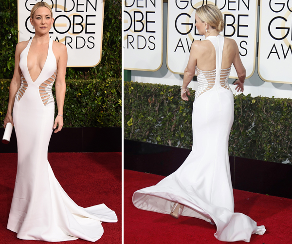 Kate Hudson at the Golden Globes 2015 in Versace via @alllacqueredup