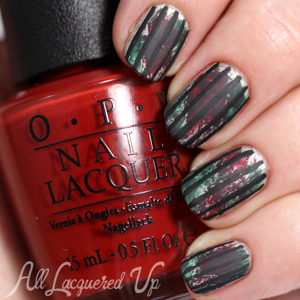Floral Watercolor Nail Art using OPI Fifty Shades of Grey via @alllacqueredup