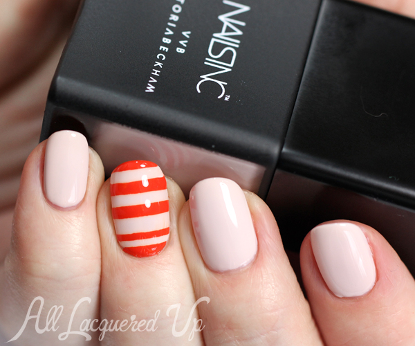 Stripe Nail Art using Nails Inc Victoria Beckham via @alllacqueredup