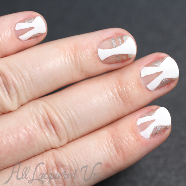 White Negative Space Nail Art via @alllacqueredup