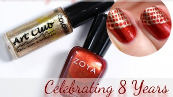 The Bronze Age – Bronze & Gold Lace Nail Art for My Blogiversary