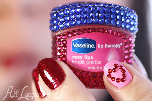 Bejeweled Vaseline Lip Therapy Rosy Lips via @alllacqueredup