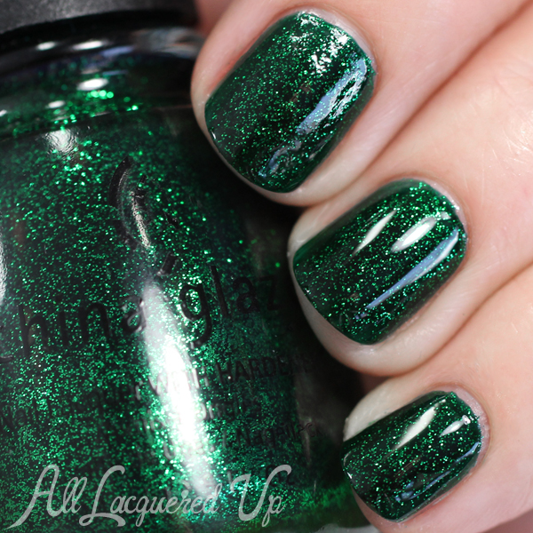 China Glaze Emerald Sparkle swatch via @alllacqueredup