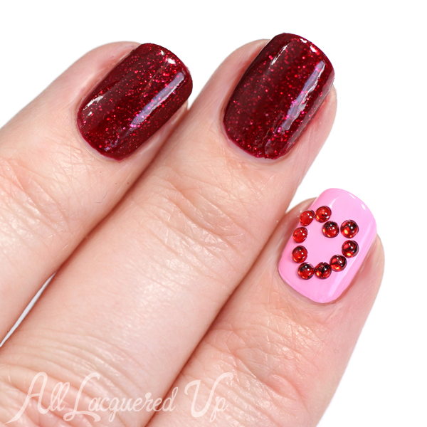 Valentine's Day Crystal Heart Nail Art via @alllacqueredup