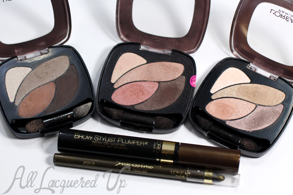 Favorite L'Oreal Eye Products - Brow Stylist Plumper, Dual Effects Eye Shadow, Silkissime Eyeliner via @alllacqueredup