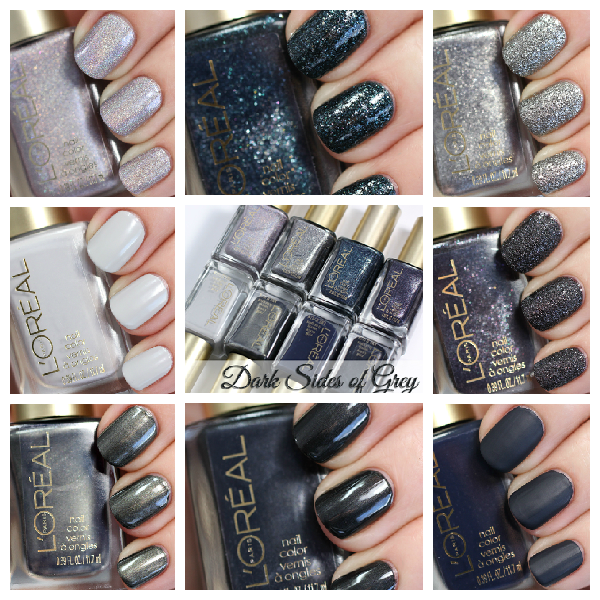 L'Oreal Dark Sides of Grey swatches via @alllacqueredup