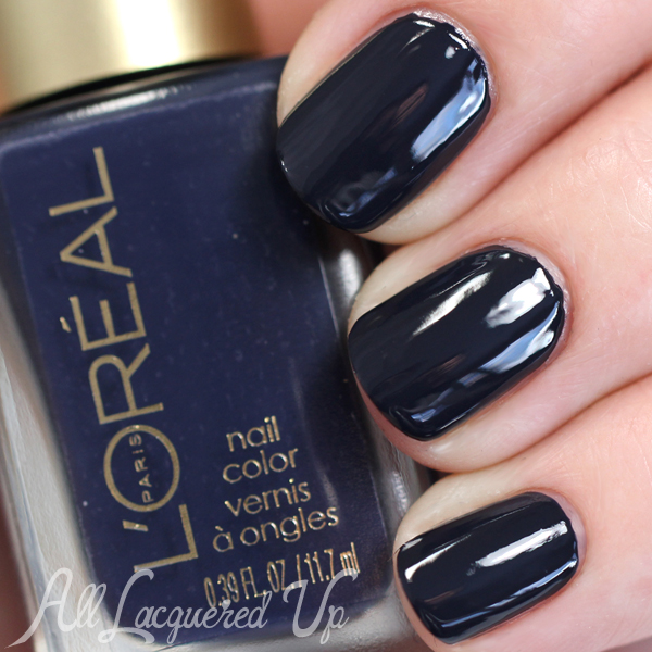 L'Oreal Grey Corset swatch with top coat via @alllacqueredup