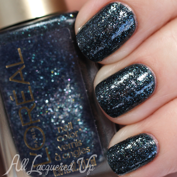 L'Oreal Totally d'Accord swatch with top coat via @alllacqueredup