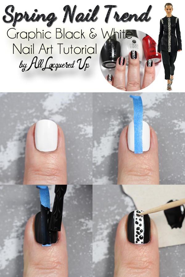 Spring Nail Art Tutorial Graphic Black White