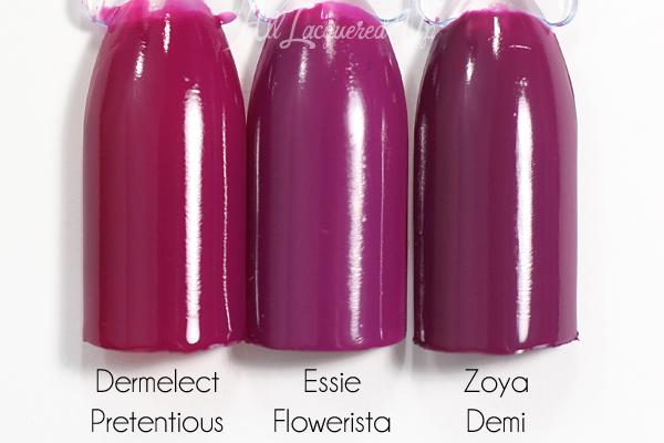 Essie Flowerista swatch comparison via @alllacqueredup