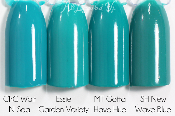Essie Garden Variety swatch comparison via @alllacqueredup