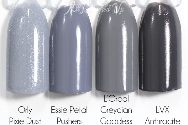 Essie Petal Pushers swatch comparison via @alllacqueredup