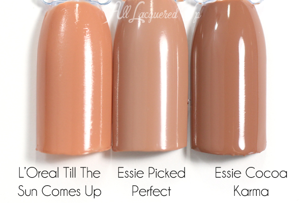 Essie Picked Perfect swatch comparison via @alllacqueredup