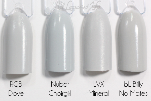 Nubar Choirgirl swatch comparison via @alllacqueredup