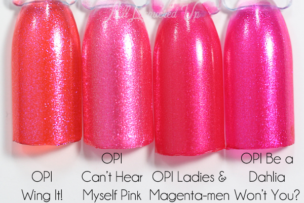 OPI Can't Hear Myself Pink comparison via @alllacqueredup