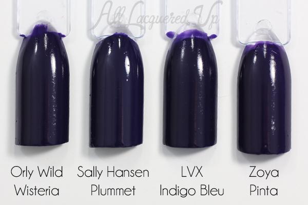 Sally Hansen Plummet swatch comparison via @alllacqueredup