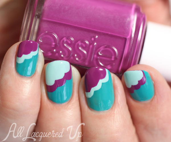 Scalloped Nail Art with Essie Flowerista via @alllacqueredup