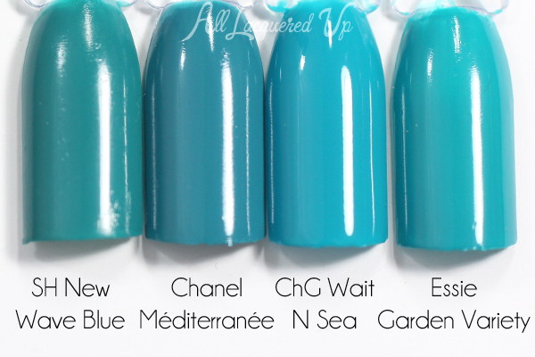 Chanel Mediterranee swatch comparison - Chanel Summer 2015 Makeup via @alllacqueredup