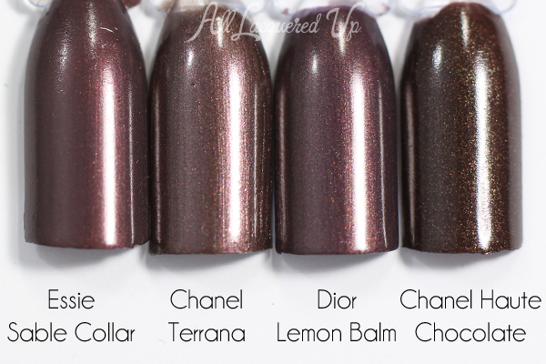 Chanel Terrana swatch comparison - Chanel Summer 2015 Makeup via @alllacqueredup