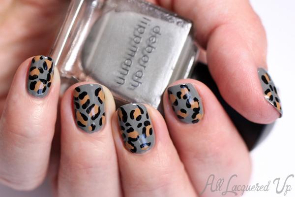 Leopard Print Nail Art with Deborah Lippmann Desert Moon via @alllacqueredup