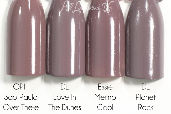 Deborah Lippmann Love In The Dunes swatch comparison - Summer 2015 via @alllacqueredup