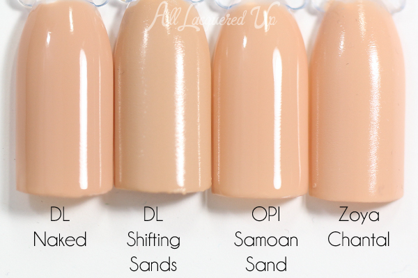 Deborah Lippmann Shifting Sands swatch comparison - Summer 2015 via @alllacqueredup