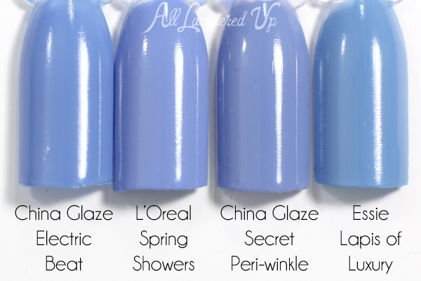 L'Oreal Spring Showers swatch comparison - Spring 2015 Haute Florals via @alllacqueredup