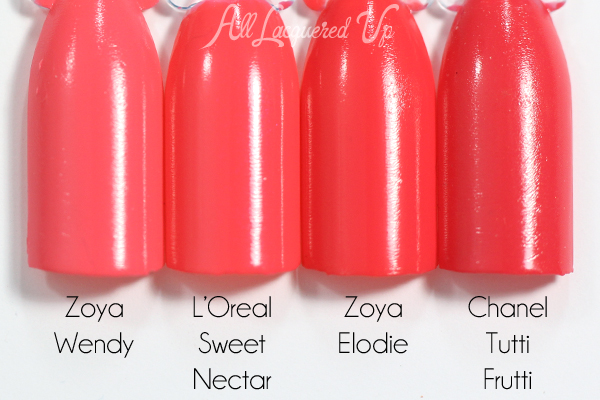 L'Oreal Sweet Nectar swatch comparison - Spring 2015 Haute Florals via @alllacqueredup