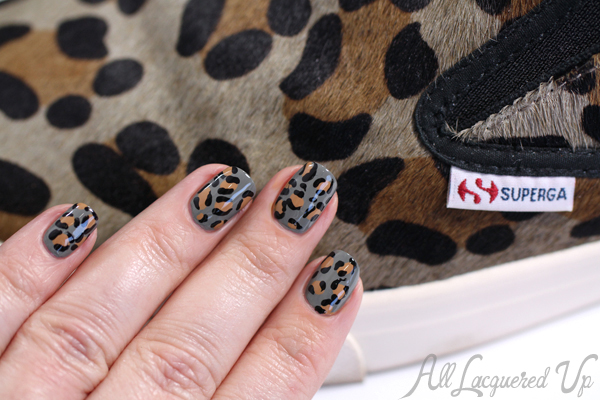 Leopard Print Nail Art with Superga Slip-Ons via @alllacqueredup