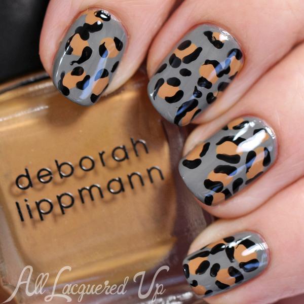Leopard Print Nail Art with Deborah Lippmann Terra Nova via @alllacqueredup