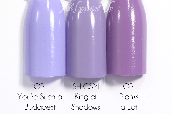 Sally Hansen King of Shadows swatch comparison - Spring 2015 Prabal Gurung via @alllacqueredup