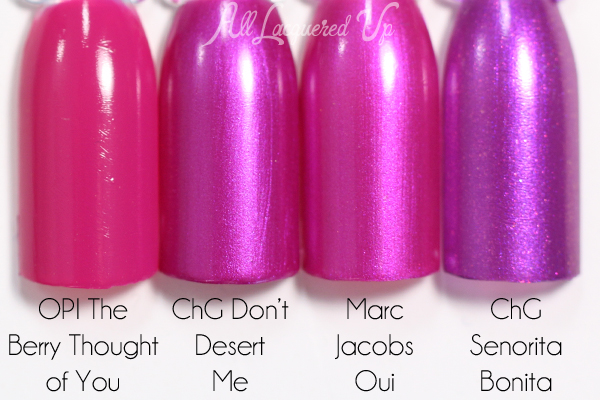 China Glaze Don't Desert Me comparison swatch via @alllacqueredup