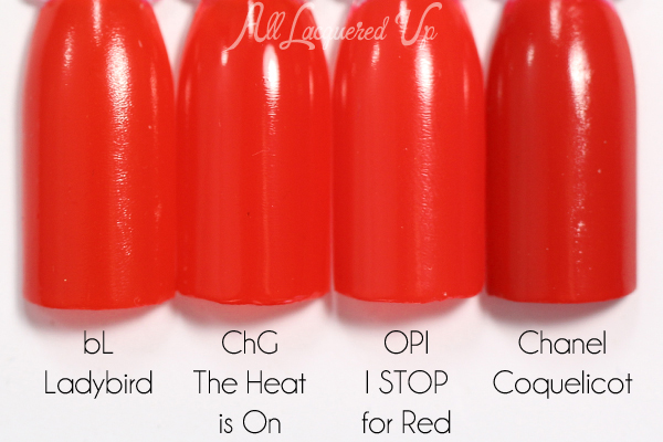China Glaze The Heat is On comparison via @alllacqueredup