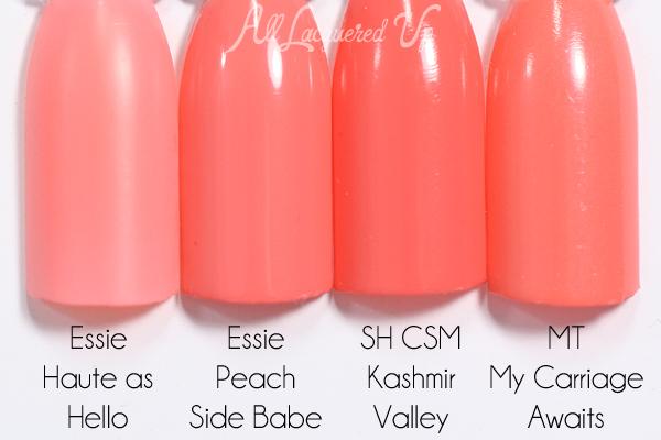Essie Peach Side Babe swatch comparison - Summer 2015 via @alllacqueredup