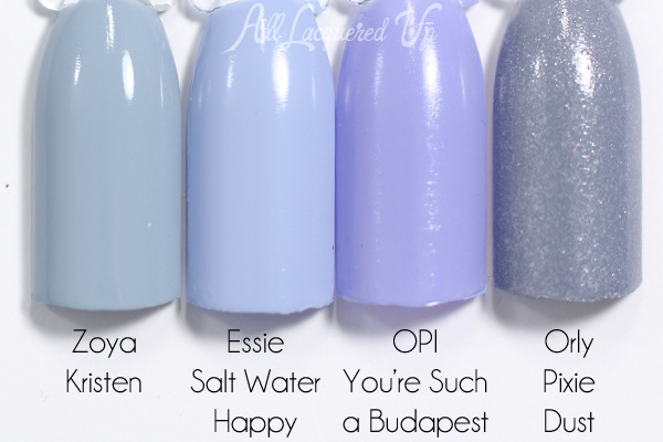Essie Salt Water Happy swatch comparison via @alllacqueredup