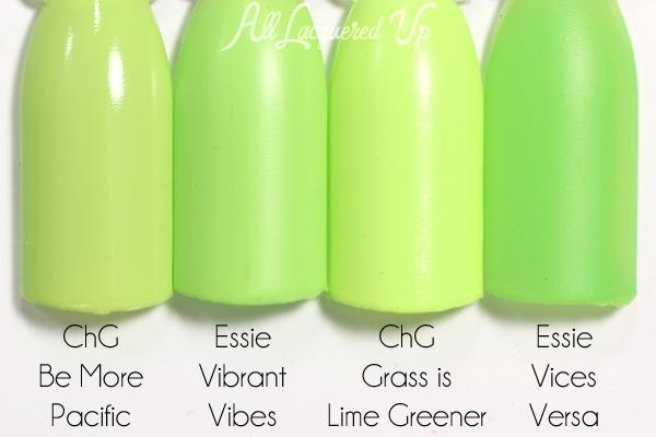 Essie Vibrant Vibes comparison swatch - Neon 2015 via @alllacqueredup